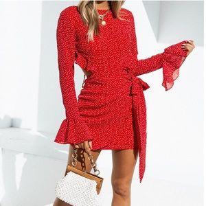 Red polka dotte, long sleeve mini dress NWOT!